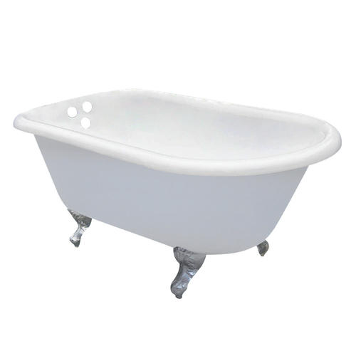 "Elements of Design 54"" x 30"" White/Chrome Cast Iron Clawfoot Bathtub"