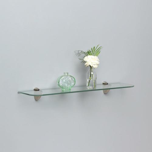 decorative glass partition walls.htm shelf made   24  w x 6  d satin nickel decorative glass shelf kit  satin nickel decorative glass shelf kit