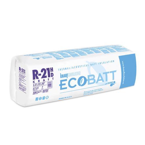 Ecobatt 174 R 21 Kraft Faced Fiberglass Insulation Batt 15 Quot X