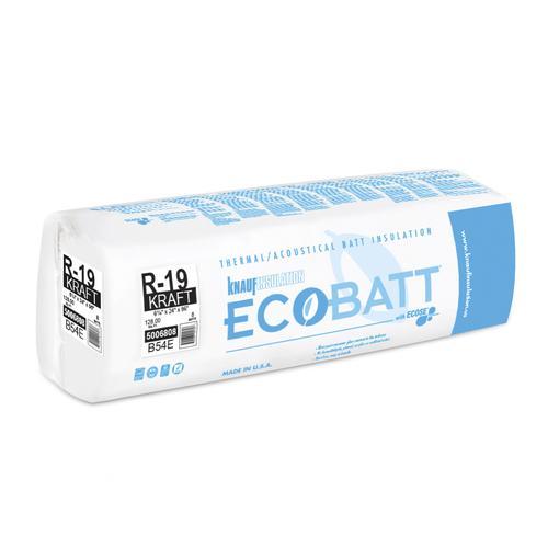Ecobatt 174 R 19 Kraft Faced Fiberglass Insulation Batt 24 Quot X