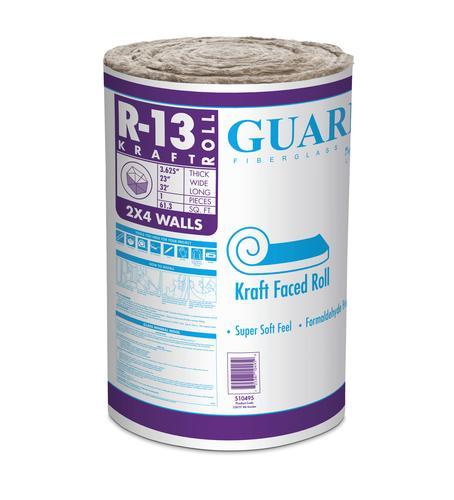 Guardian R 13 Kraft Faced Fiberglass Insulation Roll 23 Quot X