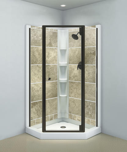 Sterling Solitaire Deep Bronze Neo Angle Corner Shower Door With Clear Gl At Menards