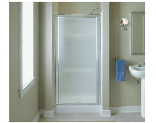 "Sterling™ Vista Pivot™ 36"" x 65-1/2"" Hinge Shower Door in Silver with Pebbled Glass Texture at Menards®"