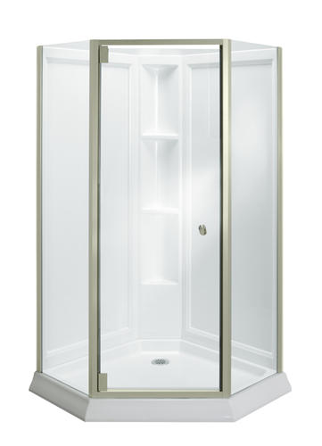 Attrayant Sterling™ Solitaire® Economy Frameless Corner Shower Kit In Brushed Nickel  With Clear Glass At Menards®