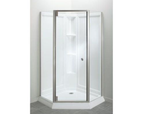 Sterling™ Solitaire® Economy Frameless Corner Shower Kit In Brushed Nickel  With Clear Glass At Menards®