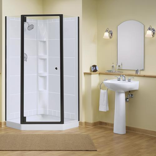 Sterling Intrigue Neo Angle Shower With Solitaire Shower Door At