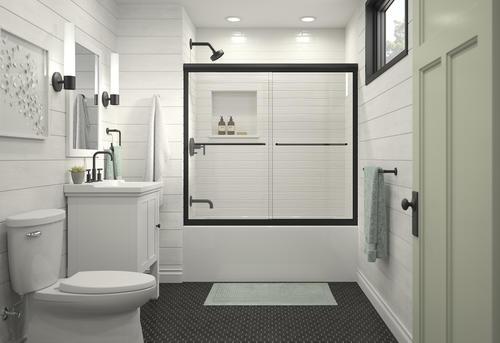 Sterling Finesse 54 5 8 W X 55 1 2 H Semi Frameless Sliding Bathtub Shower Door At Menards