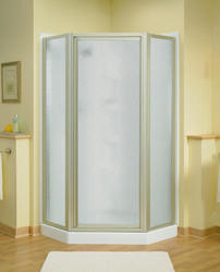 Sterling™ Intrigue™ Neo-Angle Shower Door in Silver with Rain Glass Texture