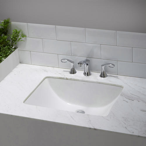 Kraus Elavo White Ceramic Large Rectangular Undermount Bathroom Sink W Overflow At Menards 174