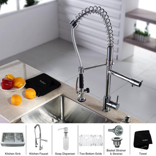 Kraus 33 Stainless Steel Farmhouse Equal Bowl Kitchen Sink With Faucet And Soap Dispenser