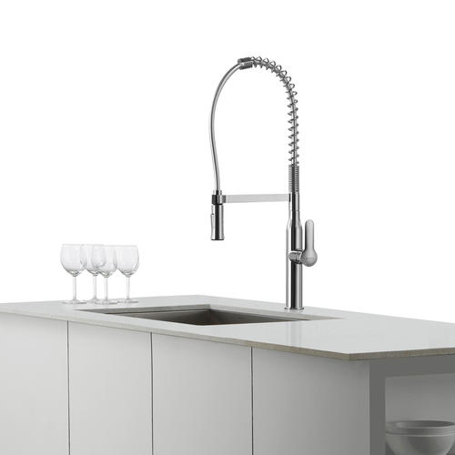 Kraus Nola One Handle Stainless Commercial Kitchen Faucet