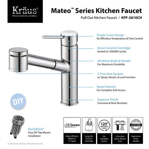 KRAUS® Oletto™ One-Handle Pull-Out Chrome Kitchen Faucet at ...