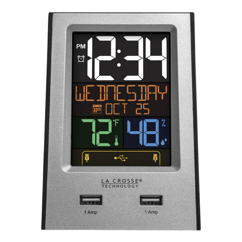 La Crosse Technology Digital Indoor Thermometer Clock With Charging Station