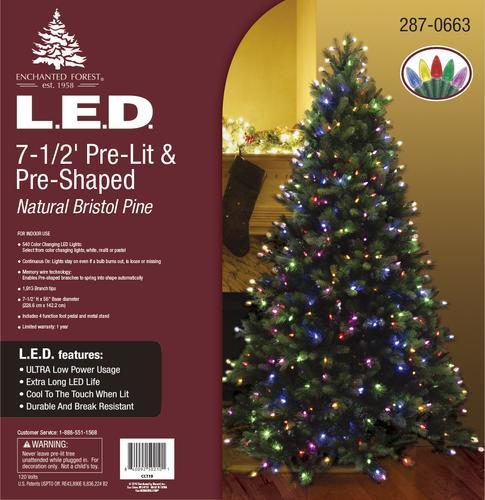 Natural Christmas Tree.Enchanted Forest 7 5 Prelit Natural Bristol Pine