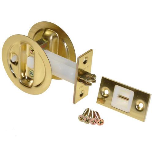 Johnson Hardware Pocket Door Brass Privacy Lock at Menards®