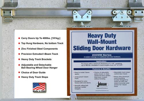 Johnson Hardware Heavy Duty Wall Mount Sliding Door Hardware ...