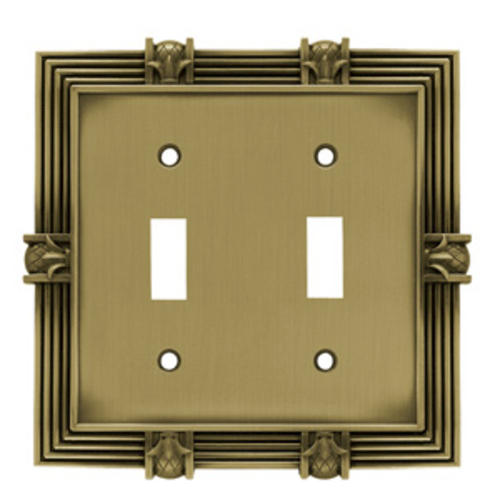 Franklin Brass Pineapple 2-Gang Zinc Switch Wall Plate Tumbled Antique Brass