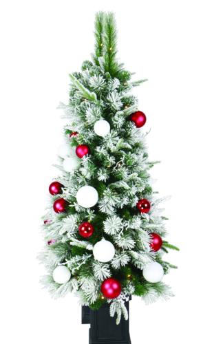 Pre Lit Outdoor Christmas Trees Battery Operated.Enchanted Forest 4 5 Prelit Led Battery Operated Flocked