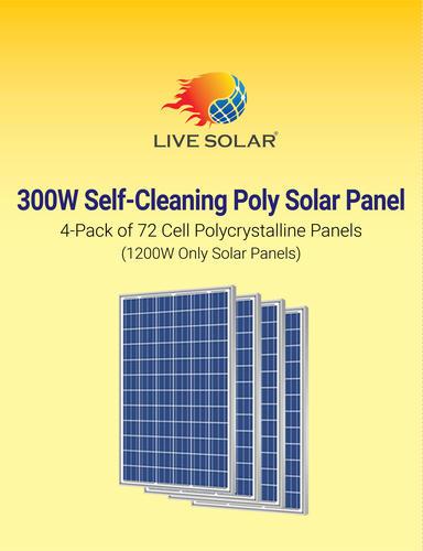 Live Solar 300-Watt Self Cleaning Poly Solar Panel (4-Pack