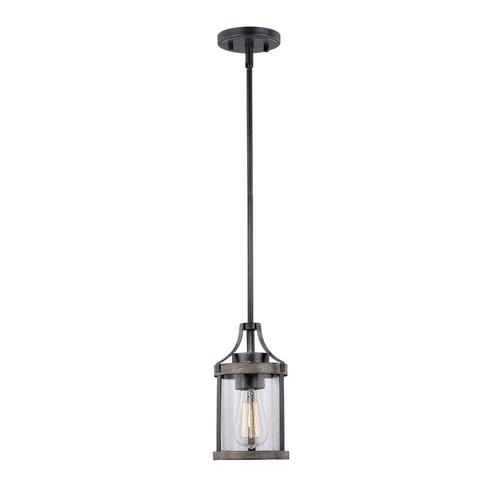Patriot Lighting Elegant Home Brooklyn Natural Iron Distressed Faux Wood 1 Light Mini Pendant At Menards