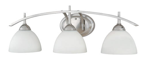 "Bathroom Lighting Menards patriot lighting® somerville 26.25"" satin nickel 3-light vanity"