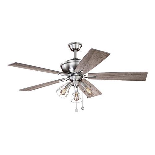 Patriot Lighting Warehouse 52 Satin Nickel Integrated Led Indoor Ceiling Fan At Menards