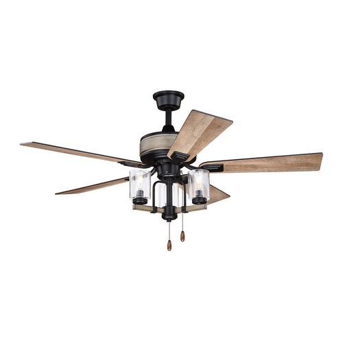 Patriot Lighting Elegant Home Brooklyn 52 Black With Faux Wood Indoor Led Ceiling Fan At Menards