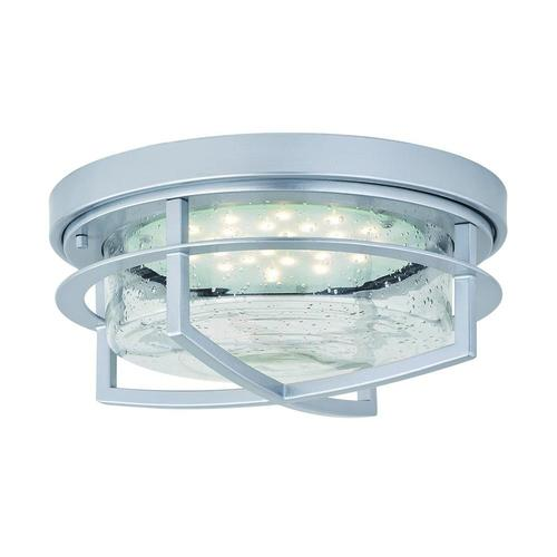 Patriot Lighting Uptown Painted Satin Nickel Led Outdoor Flush Mount Ceiling Light At Menards
