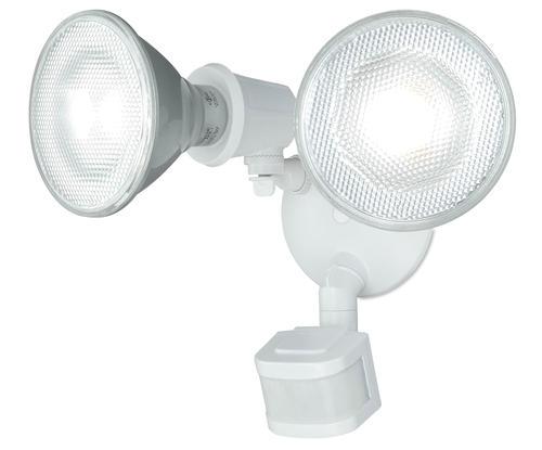 Patriot Lighting White Dual Head Motion Sensor Outdoor Security Flood Light At Menards