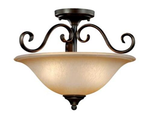 Patriot Lighting Mavis Oil Brushed Bronze With Gold Accent 2 Light Semi Flush Mount Ceiling Light At Menards