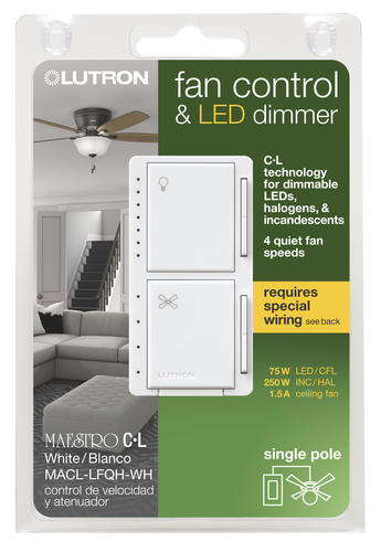 Light Almond Lutron MA-LFQHW-LA Maestro 1-Amp 300-watt Single Pole Fan and Light Control