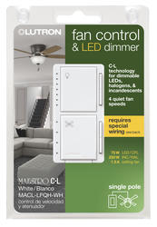 lutron® maestro® 1.5-amp 1-pole white touch fan and light control at  menards®  menards