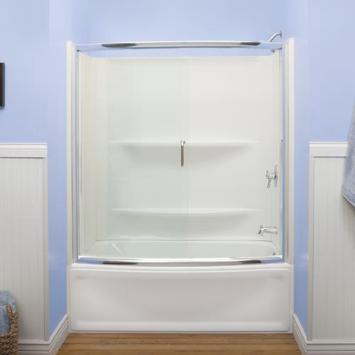 """lyons contour™ 56""""-57"""" x 58"""" bypass bathtub door with clear glass at"""