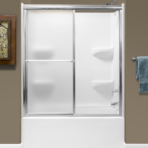 Lyons 54 W X 58 H Silver Framed Sliding Bathtub Shower Door With Obscured Glass At Menards
