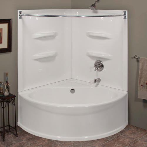 Lyons Sea Wave V  48 x 20 Right Center Drain Corner Soaking Bathtub at Menards