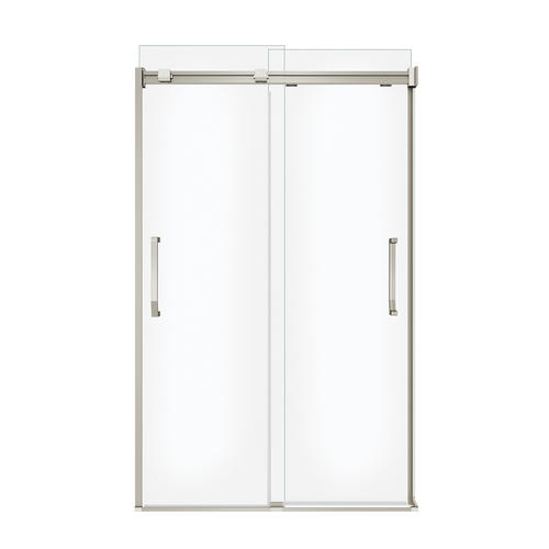 """MAAX® Inverto 47""""W x 74""""H Brushed Nickel Semi-Frameless Sliding Shower Door with Clear Glass"""