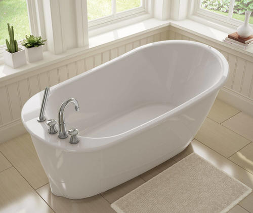 "maax® sax 60"" w x 32"" d freestanding bathtub with reversible drain"