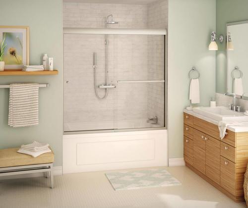 Maax 174 Aura 8 59 Quot W X 57 Quot H Semi Frameless Sliding Tub Shower