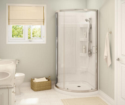Maax Cyrene 34 W X 34 D X 76 H White Shower Kit With Center Drain 4 Piece At Menards