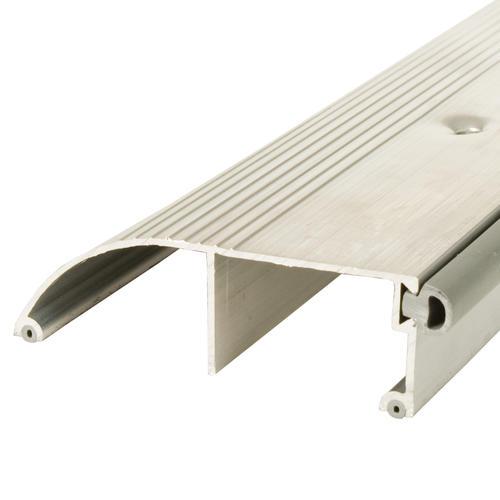 "M-D Custom Length High 85"" Long x 3-3/8"" Wide x 1"" High Bumper Aluminum Threshold"