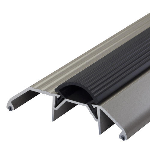 """M-D Custom Size Deluxe High Satin Nickel Aluminum Threshold with Vinyl Seal 3-3/4"""" Wide x 1-1/8"""" High x 41-11/16"""" Long"""