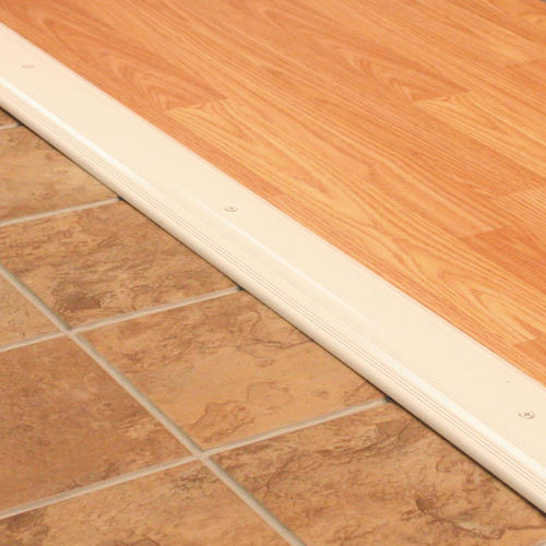 "M-D Custom Size Low Dome Top White Aluminum Threshold 57"" Long"