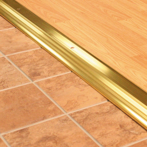 "M-D Custom Size High Dome Top Brite Gold Aluminum Threshold 80-11/16"" Long x 3-1/2"" Wide x 1"" High"