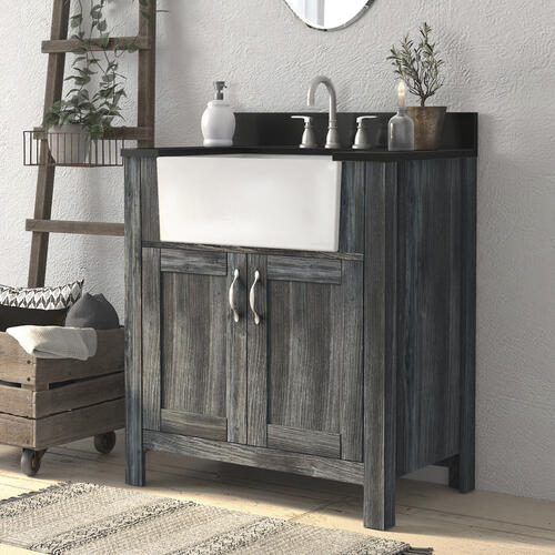 Magick Woods Arcadian 31 W X 19 D Vanity And Jet Black Granite Vanity Top With Rectangular Farmhouse Style Bowl At Menards