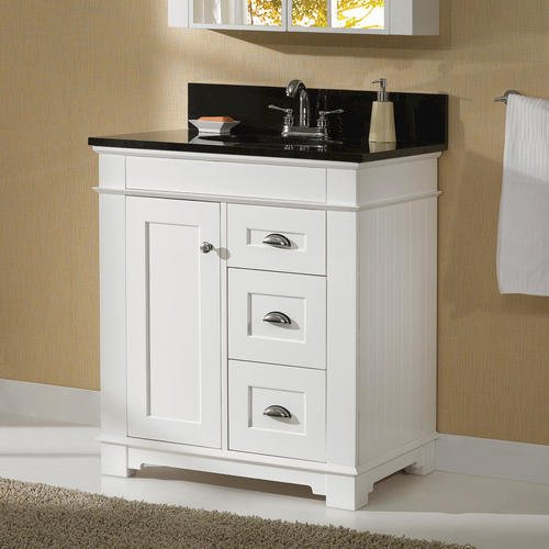 "Magick Woods Charlotte 30""W x 21""D White Bathroom Vanity ..."