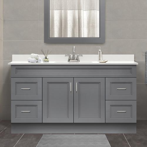 Magick woods elements stratton 60 w x 21 39 d gray bathroom - Menards bathroom vanities 48 inches ...