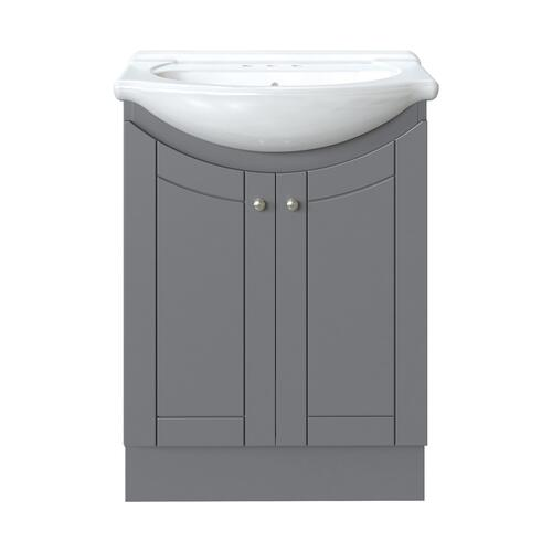Magick Woods Eurostone 24 W X 17 1 8 D Vanity And White Porcelain Vanity Top With Oval Integrated Bowl At Menards
