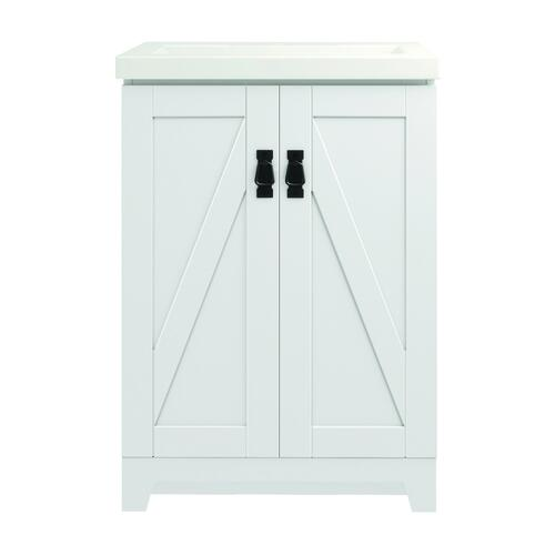 Magick Woods Barlow 24 W X 16 D White Vanity And White Porcelain Vanity Top With Rectangular Integrated Bowl At Menards