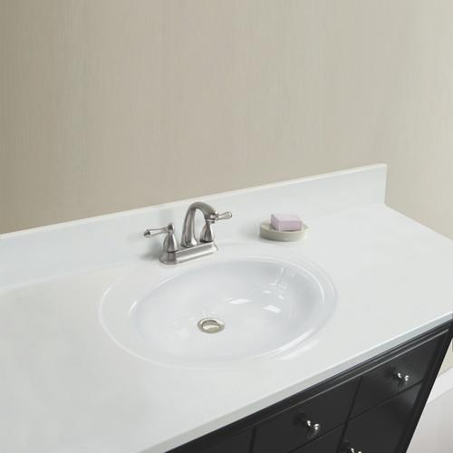 Magick Woods Elements 37 Quot W X 22 Quot D Solid White Cultured Marble Vanity Top With Oval Recessed Bowl