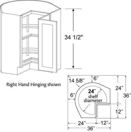 """Concept Drawing Kitchen Cabinet: Cardell® Concepts 36"""" Revolving Easy-Reach Kitchen Corner"""